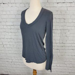 JAMES PERSE Standard Gray V-Neck Long Sleeve Tee M